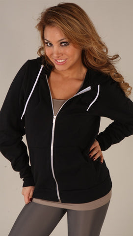 Kinkate Unisex Zip Up Hoodie Black