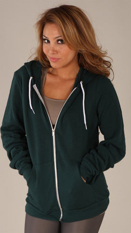 Kinkate Unisex Zip Up Hoodie Green
