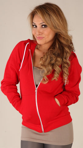 Kinkate Unisex Zip Up Hoodie Red