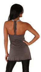 Zendo Couture Halter Tie Back Top Grey