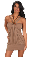 Zendo Couture Jewel Necklace Bandeau Tunic Dress Taupe Brown
