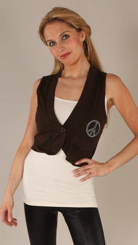 Kinkate Rhinestone Peace Vest Brown
