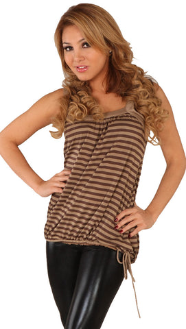 Tie Bottom Bubble Striped Tank Top Brown