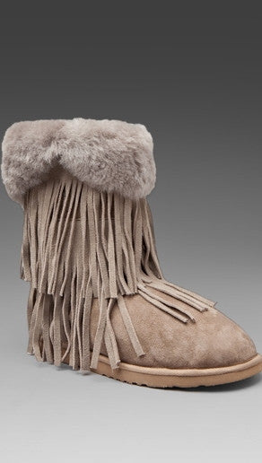 Koolaburra Haley Double Fringe Fur Foldover Boot in Seta