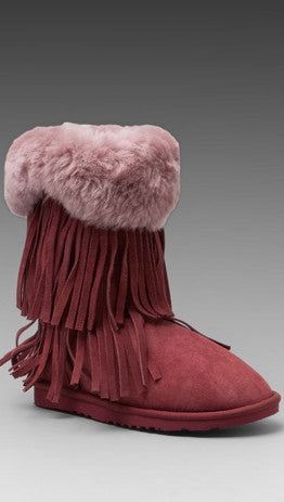 Koolaburra Haley Double Fringe Fur Foldover Boot in Tawny Port