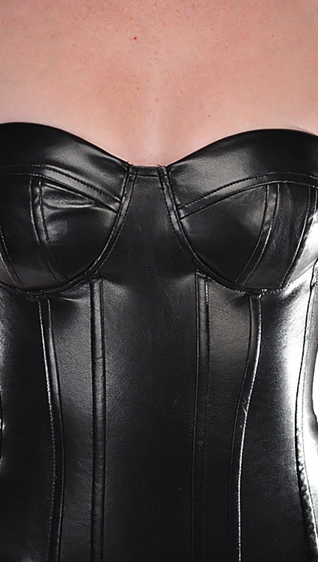 Kryptonite Intimates Faux Leather Zipper Corset