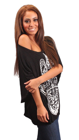 La Fine Fatima Henna Tattoo Hand of God Big Oversized Tee in Black