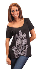 La Fine Fatima Hamsa Hand of God Short Sleeve Swing Flare Tee Black