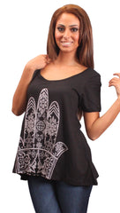 La Fine Fatima Short Sleeve Flare Tee in Black