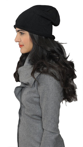 La Fine Head Wear Slouchy Beanie Knit Hat in Black