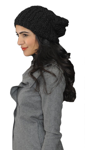 La Fine Head Wear Knit Beanie in Black