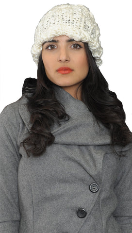 La Fine Head Wear Knit Beanie in Ivory