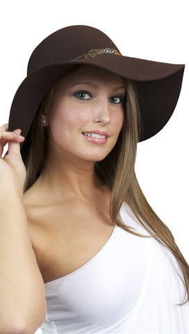 La Fine Head Wear Oversized Sun Feather Trim Wool Hat in Brown