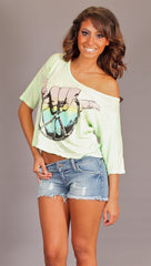 Lauren Moshi Barbie Hang Loose Crop Tee in Minty Water
