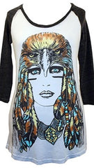 Lauren Moshi Brie Color Lady Eagle Raglan Rainbow Hair Tee