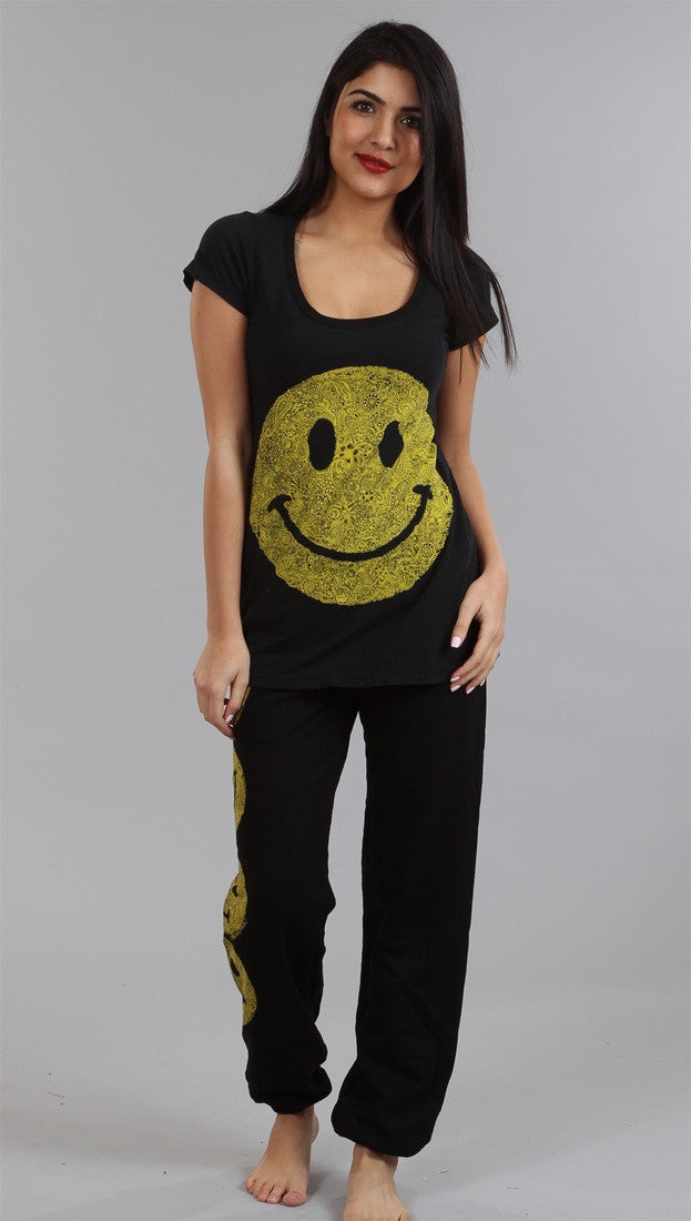 Lauren Moshi Happy Face Tegan LMV Basic Crew Tee in Black