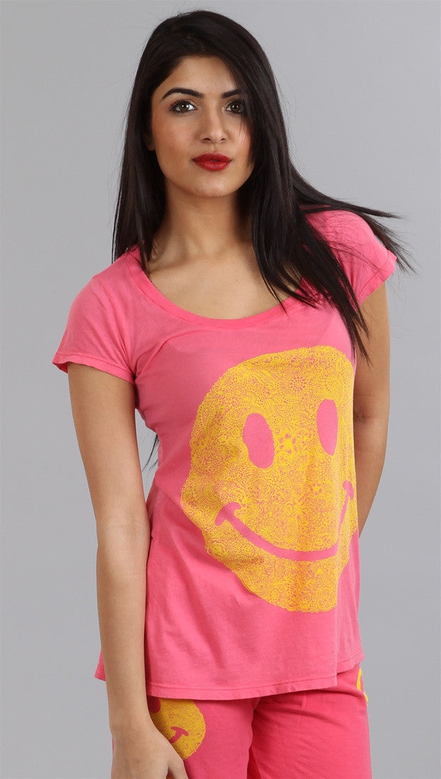 Lauren Moshi Happy Face Tegan LMV Basic Crew Tee in Pink Sherbert