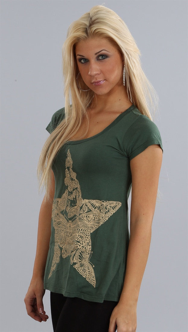 Lauren Moshi Star Butterfly Crew in Forest Green