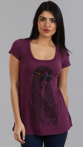 Lauren Moshi Hippie Tegan LMV Basic Crew Tee in Wine