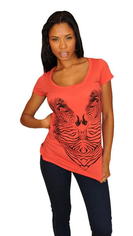 Lauren Moshi Tegan Zebra Heart Crew in Red
