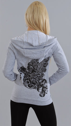 Lauren Moshi Flower Dove Zip up in Heather Grey