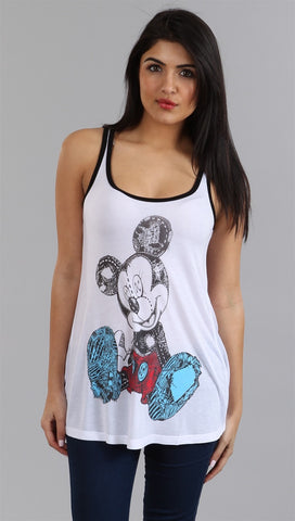 Lauren Moshi Sadie Mickey Swing Tank in White