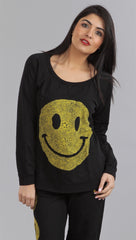 Lauren Moshi Hayden Happy Face LMV Pullover Sweatshirt in Black