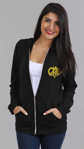 Lauren Moshi Ivy Happy Face Basic Zip Up Hoodie in Black