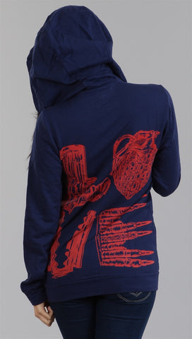 Lauren Moshi Ivy Zip-up Love Hoody in Navy