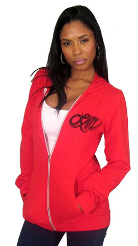 Lauren Moshi Ivy Zip-up Zebra Heart Hoodie in Red