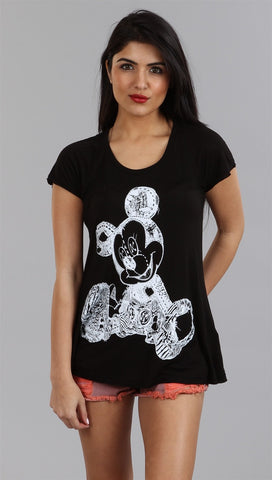 Lauren Moshi Mickey Piper Swing Tee in Black