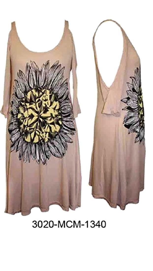 Lauren Moshi Sabrina Diamond Sunflower Open Shoulder Dress in Nude