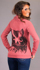 Lauren Moshi Violet Owl Zip Up Hoodie in Raspberry