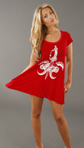 Lauren Moshi Fleur De Lies T Shirt Dress in Cherry