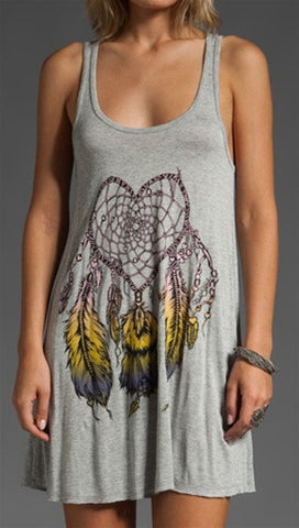 Lauren Moshi Melissa Racer Swing Tank Color Heart Dreamcatcher in Heather Grey