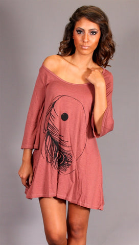 Lauren Moshi Penny 3/4 Sleeve Dress Ying Yang in Rosewood
