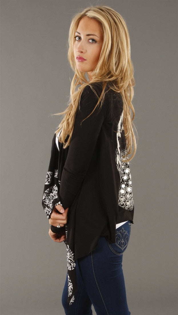 Lauren Moshi Diamond Lips Draped Cardigan in Black