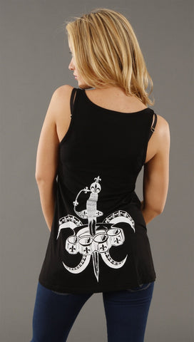 Lauren Moshi Fleur De Lies Swing Tank in Black
