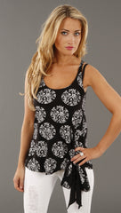 Lauren Moshi Diamond Bow Tie Tank in Black