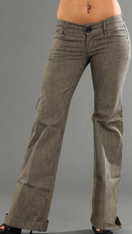 Level 99 Newport Wide Leg Denim in Grey w/ Cream Stripes