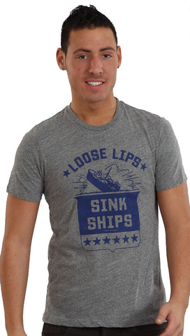 Local Celebrity Mens Loose Lips Sink Ships Crew Neck Tee Shirt Grey