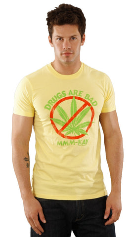 Local Celebrity Mens Drugs Are Bad MMM-Kay Crew Neck Tee Shirt Yellow