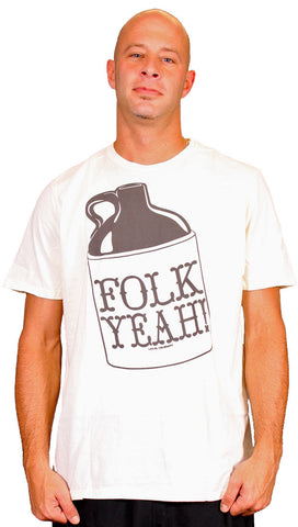 Local Celebrity Mens Folk Yeah Crew Neck Tee Shirt Cream