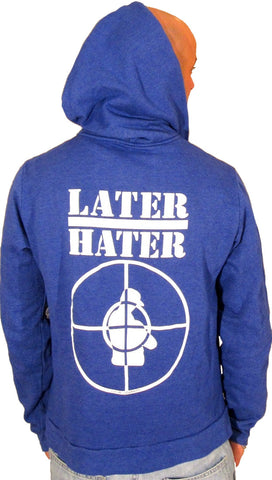 Local Celebrity Mens Later Hater Zip Up Hoodie Royal Blue