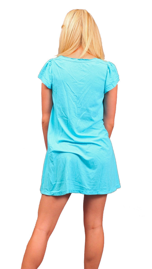 Local Celebrity Womens Drugs Are My Life Flutter Sleeve Tunic Shirt Dress in Cyan Blue