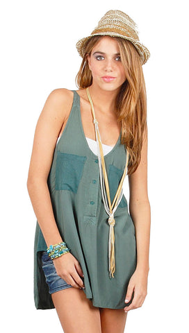 Local Celebrity Womens Del Mar Pocket Tank Tunic in Steel Blue
