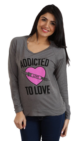 Local Celebrity Womens Addicted To Love Long Sleeve Tee in Asphalt