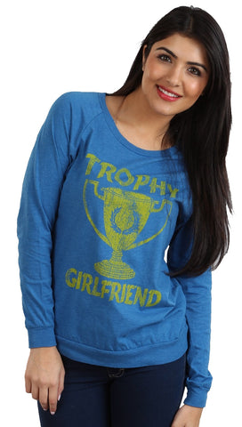 Local Celebrity Womens Trophy Girlfriend Long Sleeve Tee Shirt in Navy