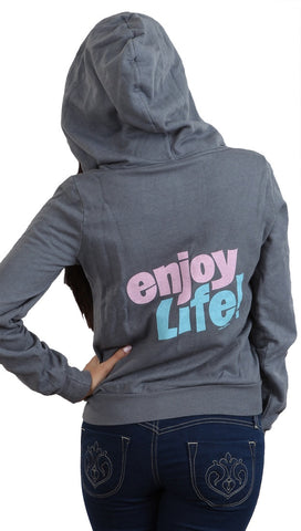 Local Celebrity Womens Enjoy Life Zip Up Hoodie Slate Grey