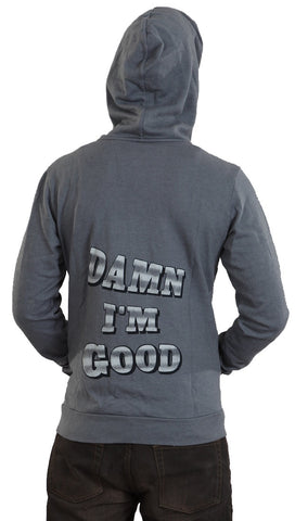 Local Celebrity Mens Damn I'm Good Zip Up Hoodie Asphalt Grey